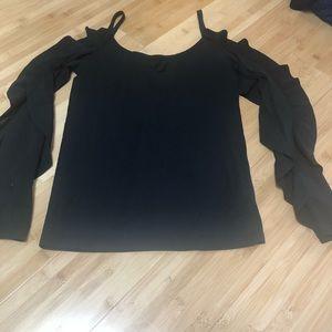 Club Monaco S black cold shoulder top